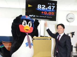 ドル円取引で利益を上げ喜ぶつば九郎(左)と相葉社長(撮影・下田雄一) ドル円取引で利益を上げ喜ぶ