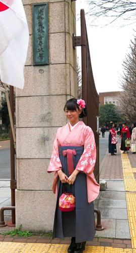 お茶の水女子大の卒業式で記念撮影