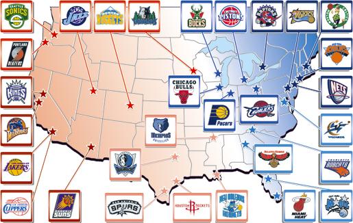 NBAフランチャイズマップ ウェスタン・カンファレンス イースタン・カンファレンス パシフィック