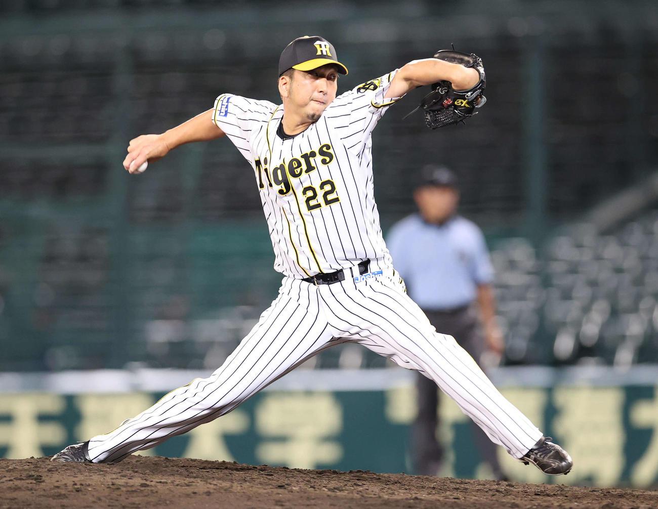 阪神対巨人 9回表に阪神4番手で登板した藤川(撮影・河野匠)