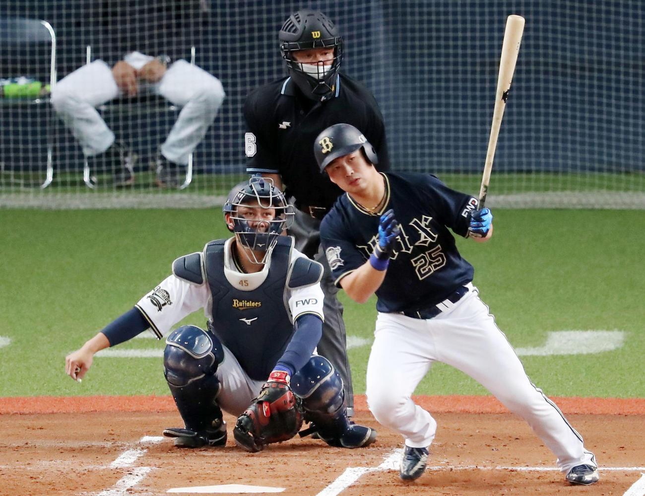 2回表紅組無死、西村は西村監督(後方左)が見守る前で左前打を放つ(撮影・加藤哉)