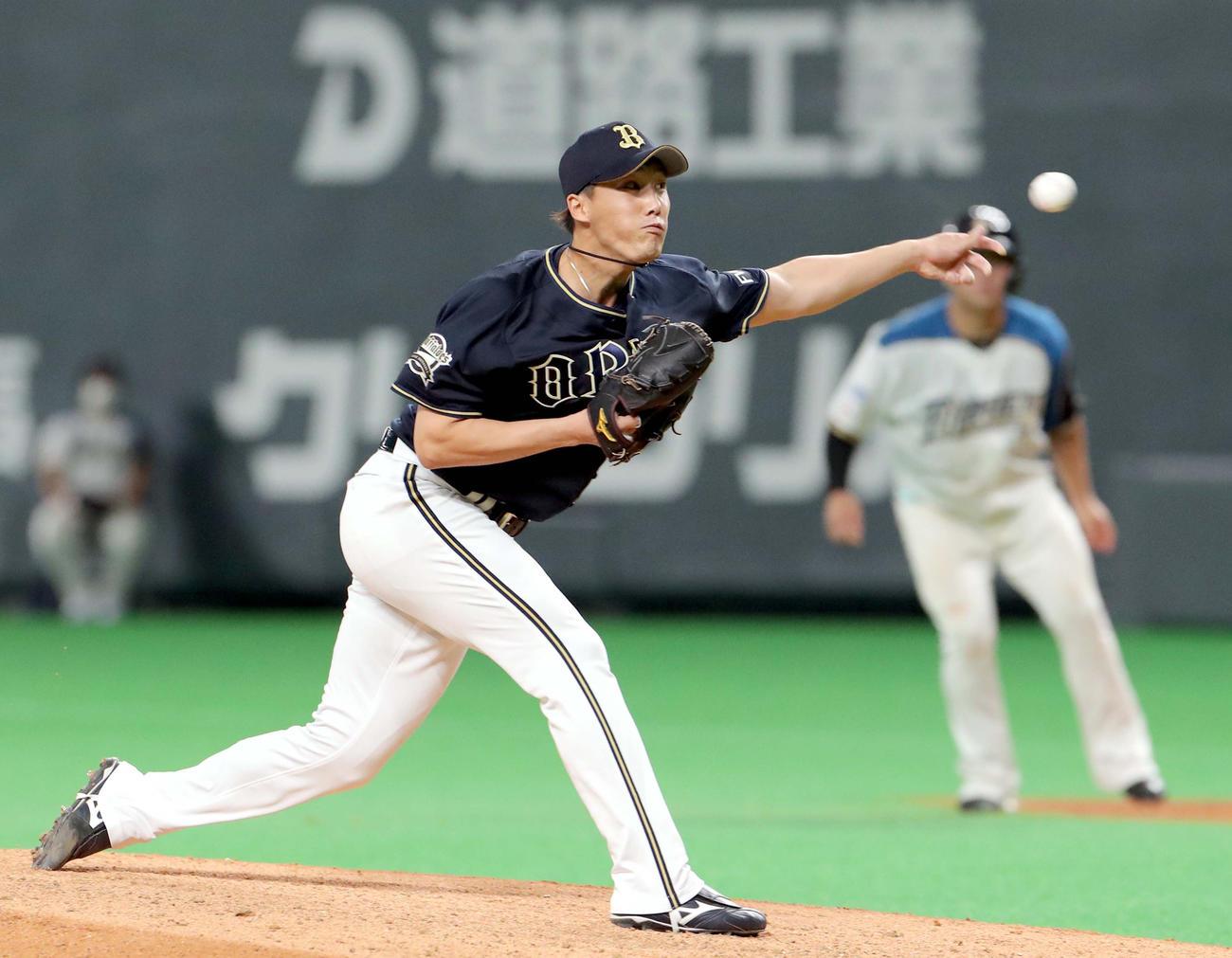 31日、日本ハム戦の6回途中から登板しプロ初勝利を挙げたオリックス斎藤綱記