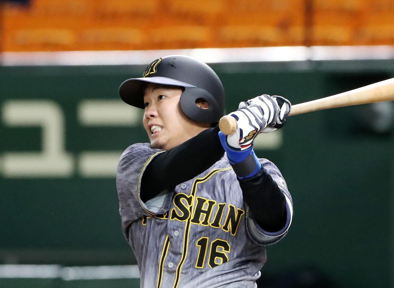 20年開幕戦で巨人菅野から本塁打を放った阪神西勇輝(2020年6月19日)