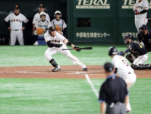 10月13日、阪神とのCS第4戦の6回にセーフティースクイズを決める巨人丸