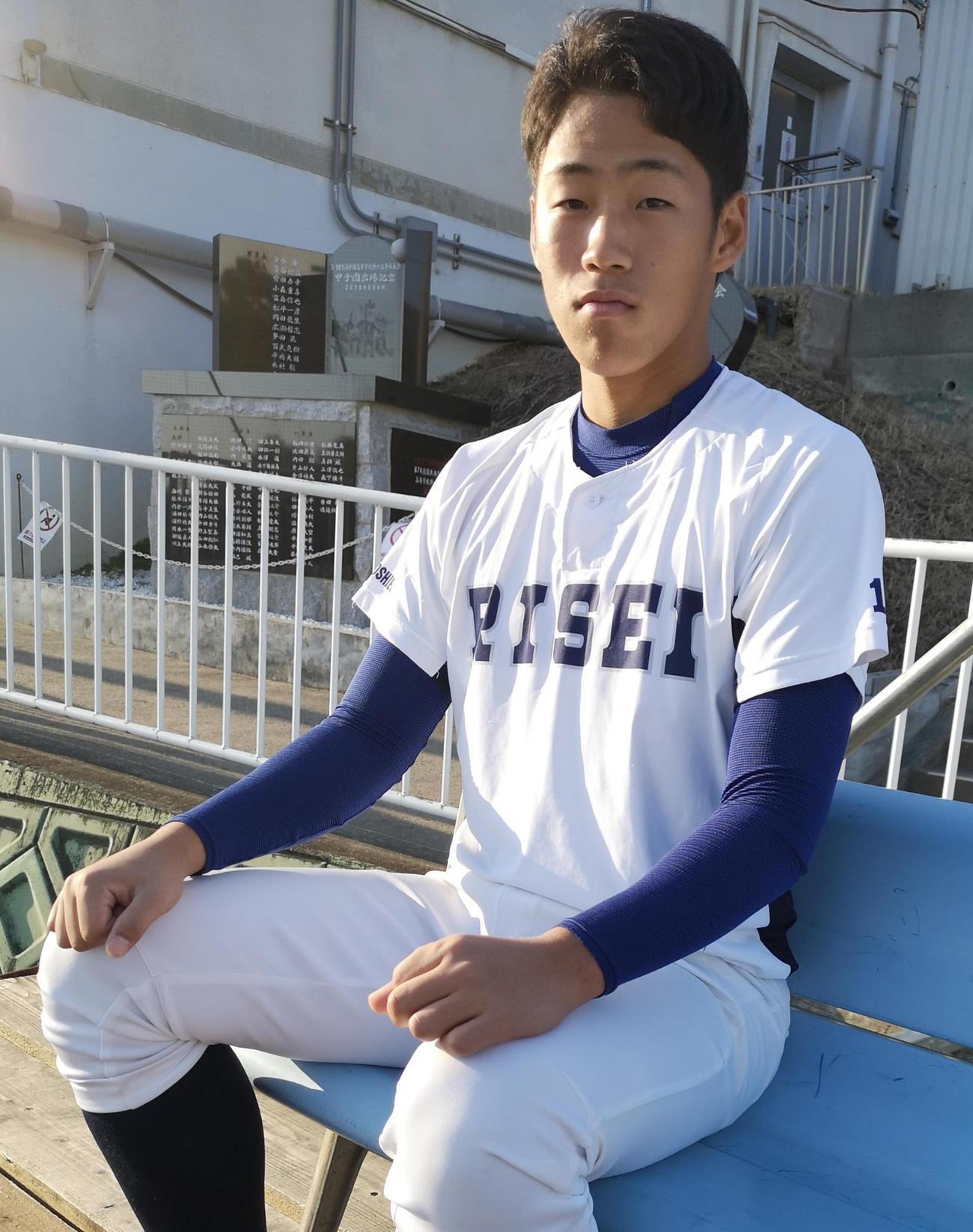 履正社・岩崎は大学からドラフト1位でのプロ野球入りを目指す