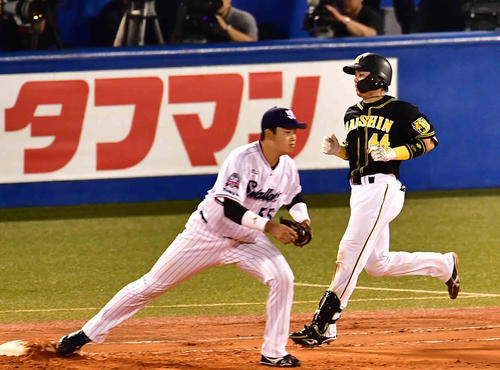6回表阪神1死一塁、梅野は遊ゴロ併殺打に倒れる。左はヤクルト村上(撮影・小沢裕)