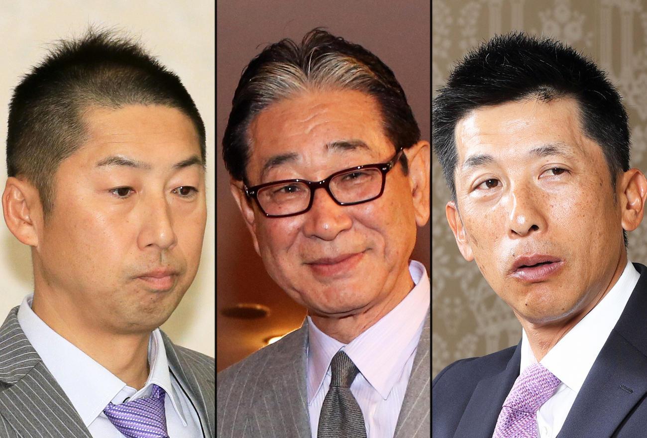 左からロッテ今岡2軍監督、星野仙一さん、阪神矢野監督