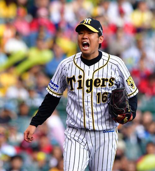 開幕投手最右翼の西勇輝(2019年9月21日撮影)