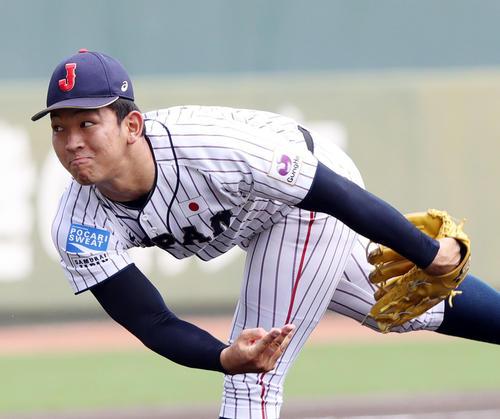 中国対日本 1回表中国2死三塁、2番手で登板し力投する柿木(撮影・垰建太)