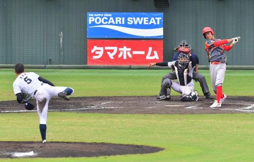 日本対中国 7回表中国2死、根尾はウー・ハイチェンから三振を奪いゲームセット(撮影・上田博志)