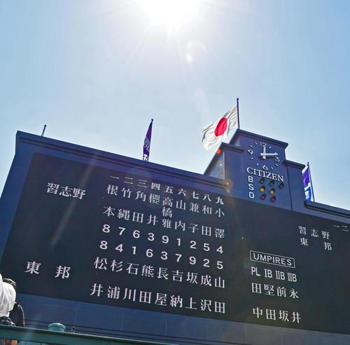 決勝戦 習志野対東邦 習志野東邦両チームのスタメン(撮影・清水貴仁)