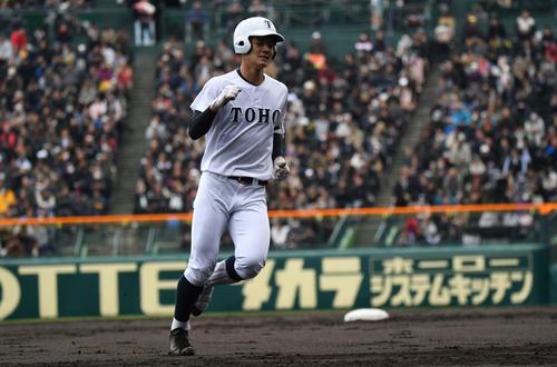 習志野対東邦 1回裏東邦1死一塁、石川昂弥が中越え2点本塁打を阪神つ(撮影・奥田泰也)