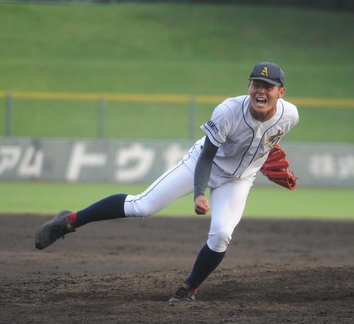 有明対開新 有明先発の浅田は9回に自己最速149キロをマークする(撮影・浦田由紀夫)