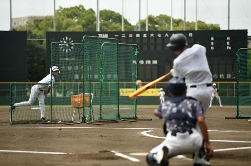 マウンドより近い距離からの投球で打撃練習をする履正社ナイン(撮影・横山健太)