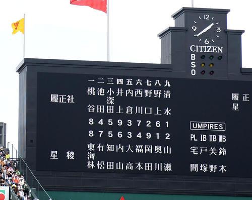 履正社対星稜 スタメンが発表される(撮影・横山健太)