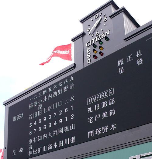 履正社対星稜 両チームスタメン(撮影・上山淳一)
