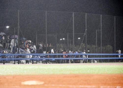 日本対パナマ 5回裏途中、佐々木の投球が始まり、試合そっちのけでブルペンに集まる報道陣と観客(撮影・横山健太)