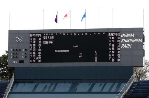 東海大相模対駿台甲府 先発メンバーを伝えるスコアーボード(撮影・鈴木正人)