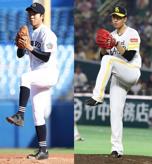 投球時に三塁側を見る高橋宏(左)。ソフトバンク千賀にそっくり?