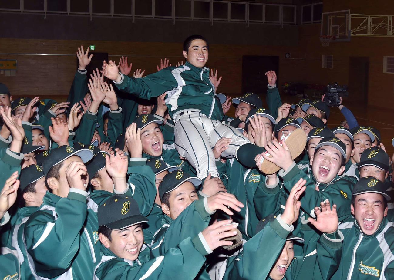 センバツ出場を決め、選手たちに胴上げされる鶴岡東・鈴木主将(中央)(撮影・相沢孔志)