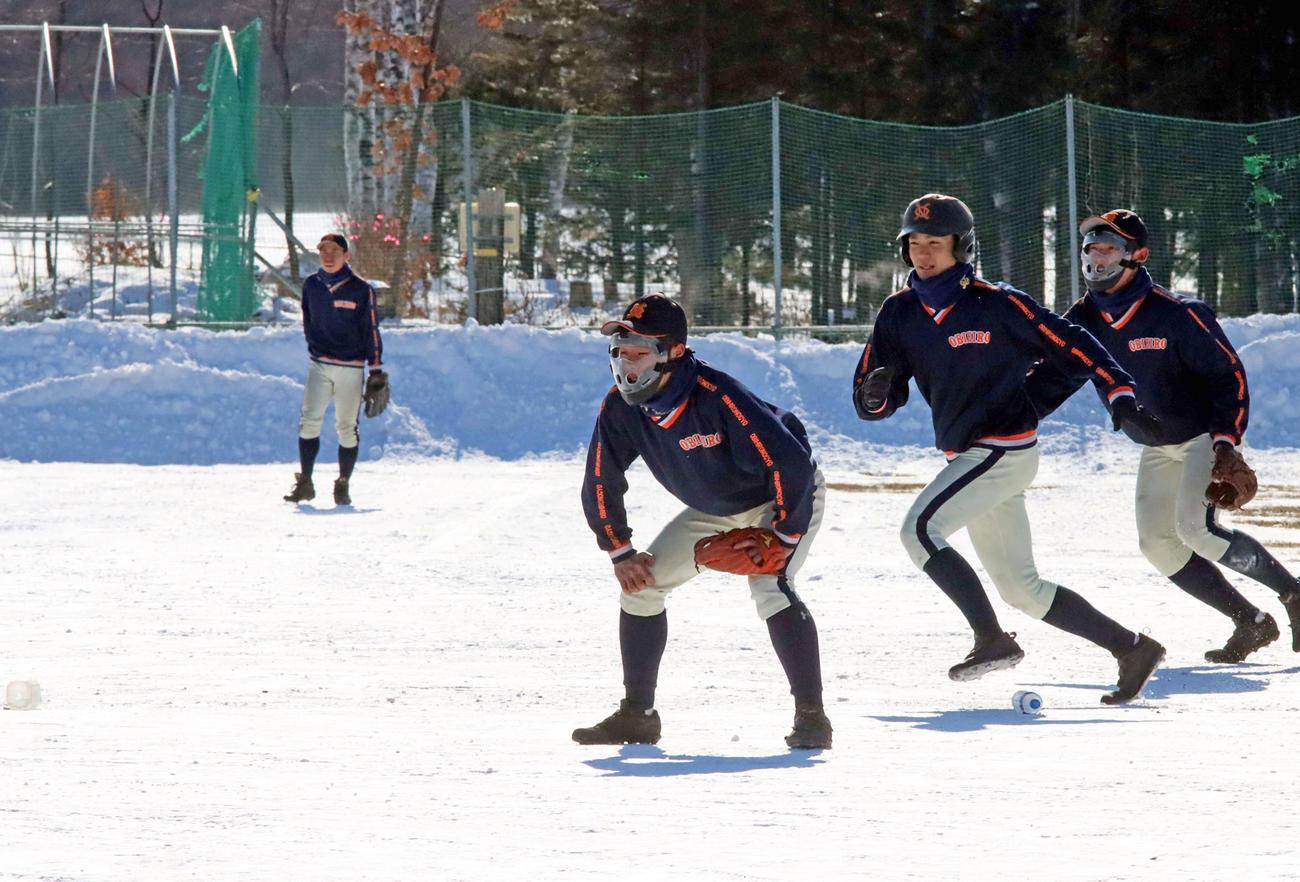 雪上シート打撃でフェースガードをつけ守備につく帯広農の選手たち(撮影・永野高輔)