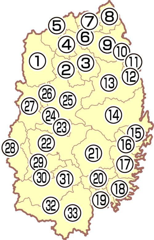 岩手県の地図
