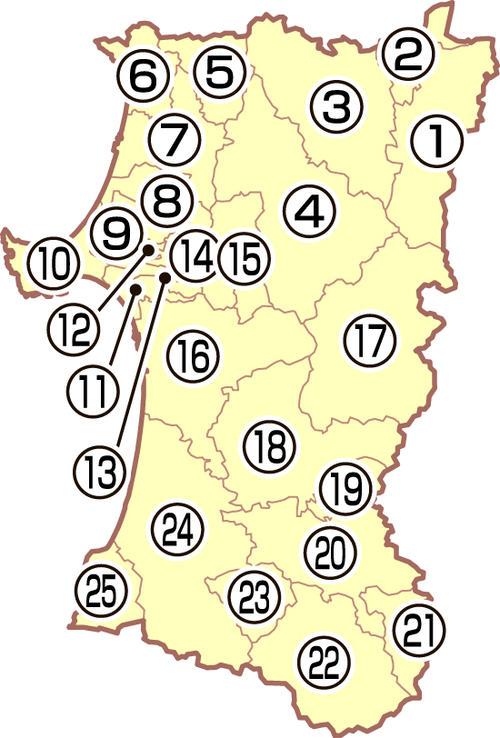 秋田県の地図
