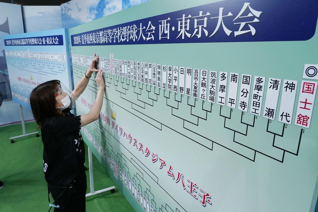 東西東京大会の組み合わせ抽選会が、東京都高野連役員による代理抽選で行われた(東京都高野連提供)