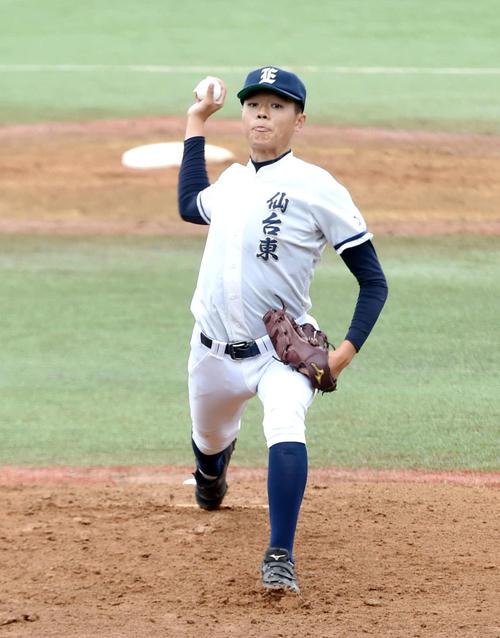 完投した仙台東・佐藤辰