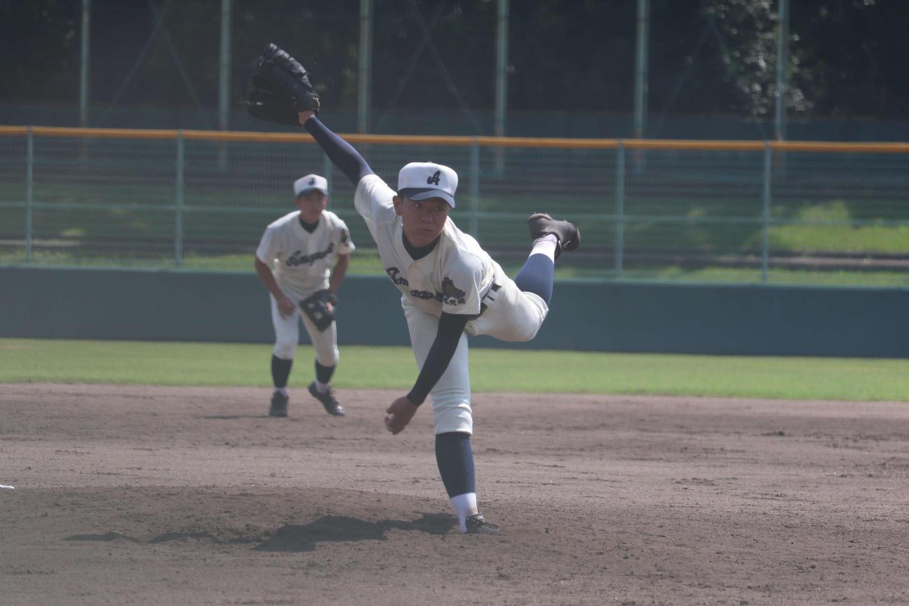 1失点で完投する県尼崎・矢野
