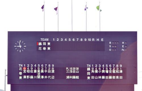 スルー東対花巻東両チームのメンバーを表示するスコアボード(撮影・蒲田直秀)