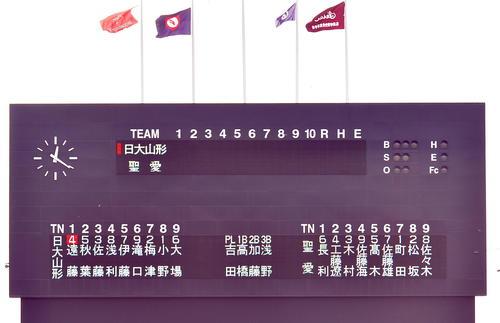 一帯山形の弘前学院性愛チームのメンバーなどを表示するスコアボード(撮影・蒲田直秀)