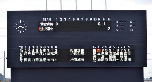 仙台育英大ゆず翔北両チームの先発メンバーを表示するスコアボード(撮影・蒲田直秀)