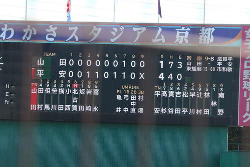 山田-龍谷大平安 試合終了のスコアボード