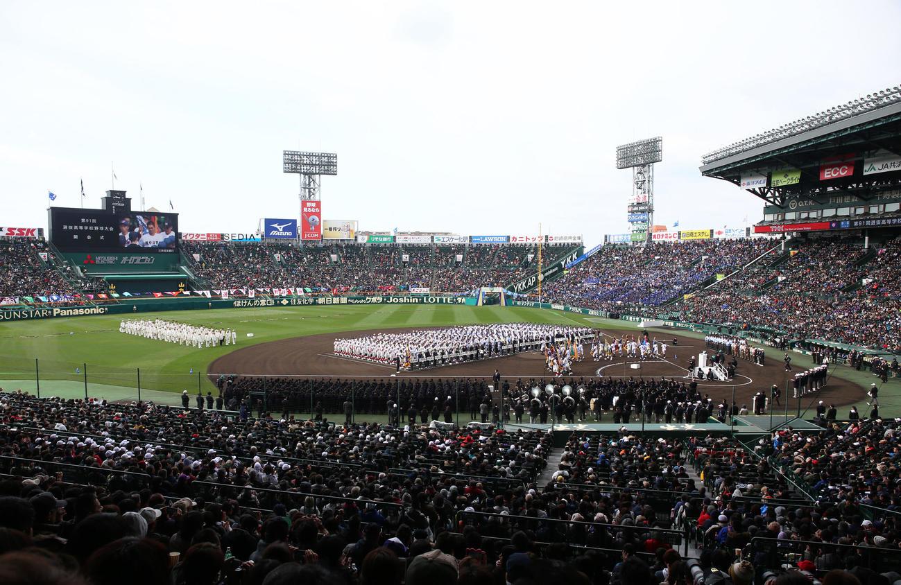 センバツの開会式が行われた甲子園球場(19年3月23日)