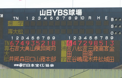 浦和学院対専大松戸 両チームのスターティングメンバー(撮影・野上伸悟)