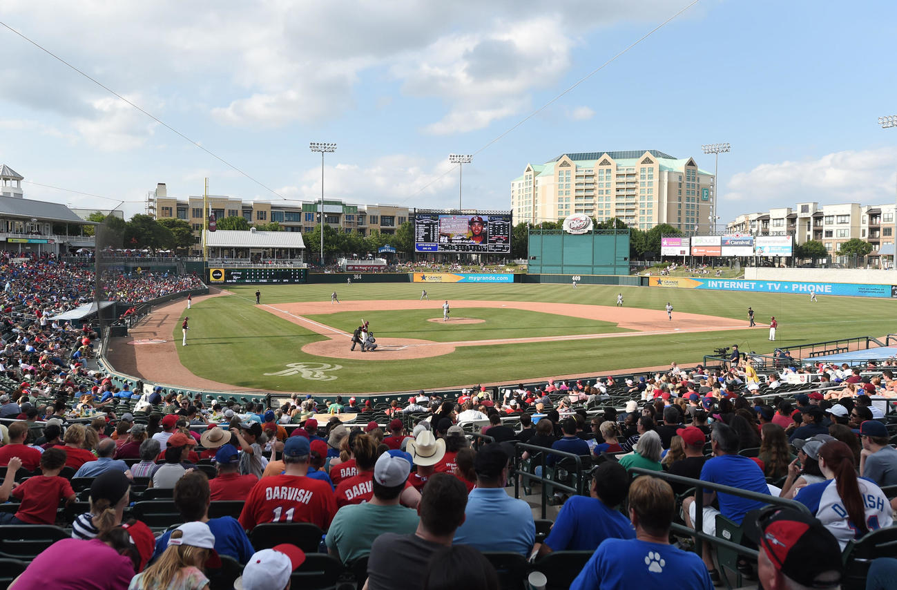 MLBレンジャース傘下、2Aフリスコ・ラフライダーズの本拠ドクターペッパー・ボールパーク(16年5月、撮影・菅敏)