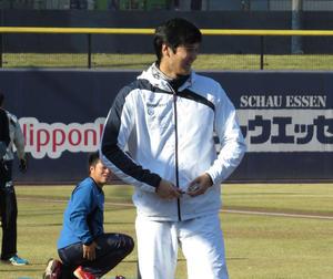 練習中にチームメートと談笑する日本ハム大谷(撮影・本間翼)