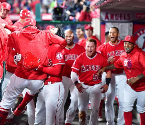 エンゼルス対インディアンス 1回裏エンゼルス2死二、三塁、メジャー初3点本塁打を放ちチームメートから祝福される大谷(撮影・清水貴仁)