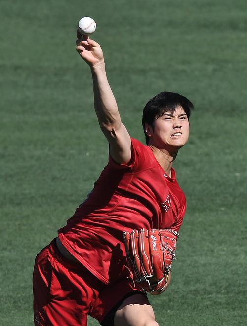 エンゼルス対タイガース 試合前、キャッチボールをするエンゼルス大谷(撮影・菅敏)