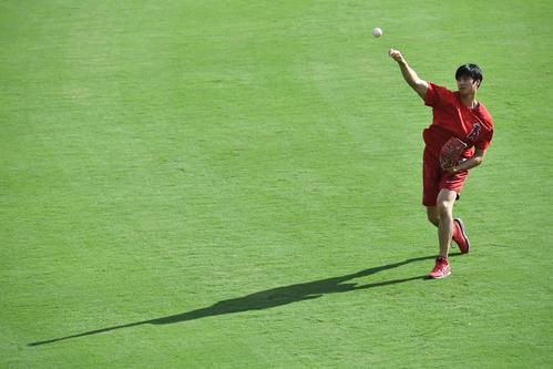 レンジャーズ対エンゼルス 試合前、キャッチボールで調整するエンゼルス大谷(撮影・菅敏)