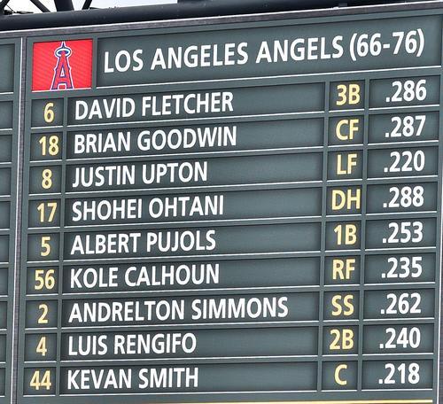 電光掲示板に映し出されたエンゼルスのスタメン表。大谷は今季初の4番DHで出場(撮影・菅敏)