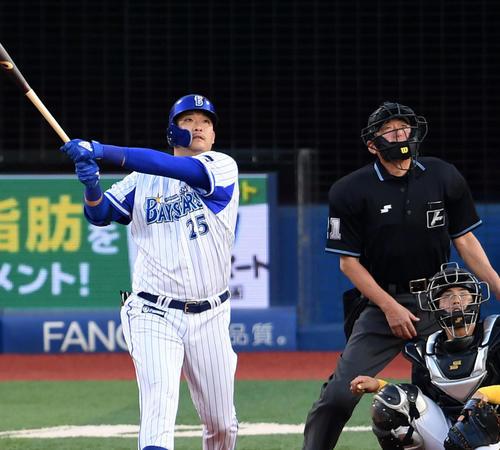 本塁打を放つ筒香嘉智(19年5月24日撮影)