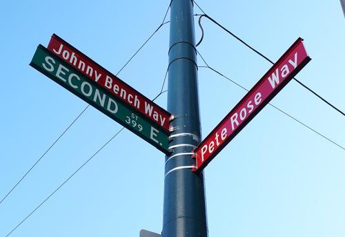 レッズの本拠地グレートアメリカンボールパークの通りに付けられたピート・ローズ通りとジョニー・ベンチ通り(撮影・菅敏)