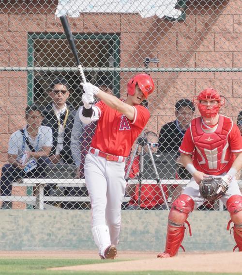 投手相手の打撃練習でヘルメットをずらしながら打球を放つエンゼルス大谷(撮影・菅敏)