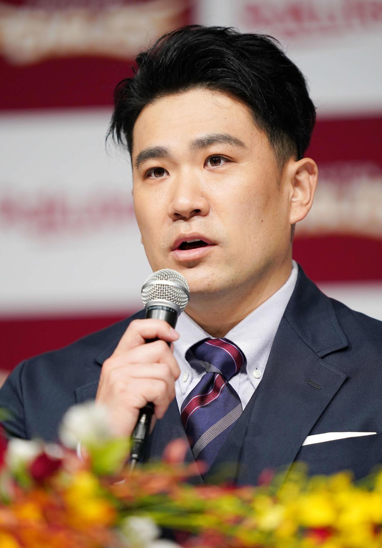 1月30日、楽天入団会見に臨む田中将大(2021年1月30日撮影)