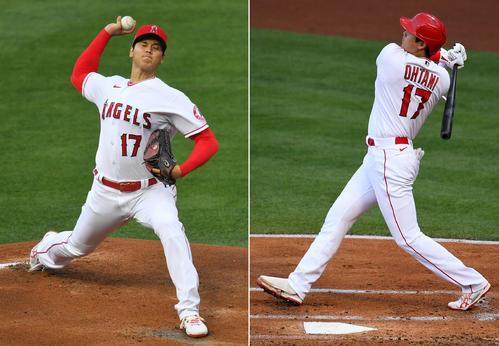 先発した投手大谷(左)と1回本塁打を放つ打者大谷(ロイター/USA TODAY)