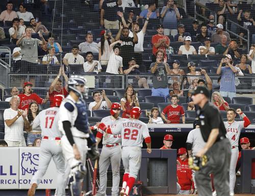 ヤンキース戦の5回、2打席連続本塁打となる28号2ランを放ったエンゼルス・大谷(17)と、観客席で盛り上がるファン(共同)
