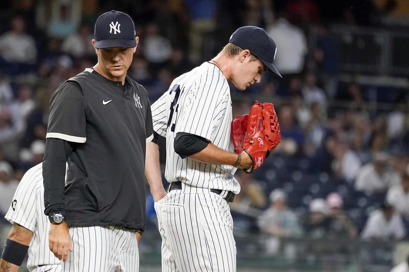 ヤンキース移籍後初登板で4本塁打を浴びたヒーニー(AP)