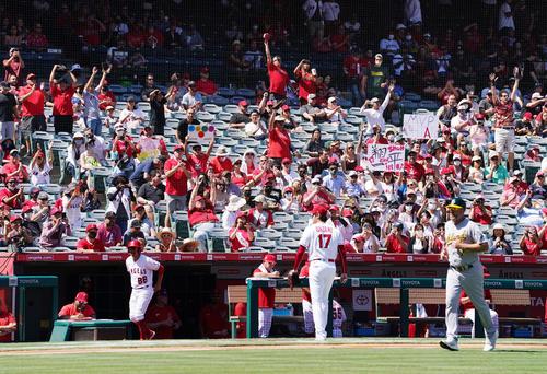 エンゼルス対アスレチックス 1回の投球を終え、大歓声を送るファンを前にベンチに戻るエンゼルス大谷(撮影・菅敏)